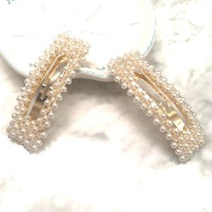 NEW Rectangle Pearlized Hair Barrette Clip Set